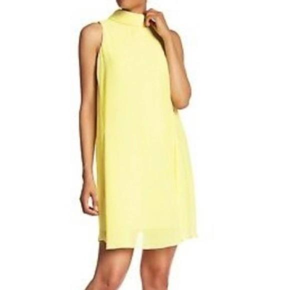 Eliza J Mock Neck Sheer Layer Shift Dress 6